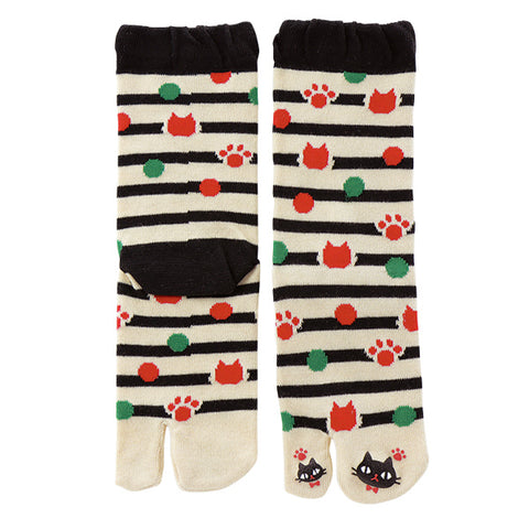 Black Cat Paw Tabi Socks Ladies