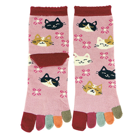 5-Toe Tabi Socks Ladies - Calico Cat