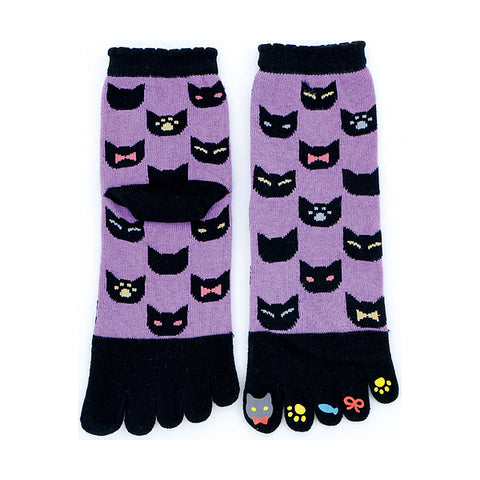 5-Toe Tabi Socks Ladies - Black Cat
