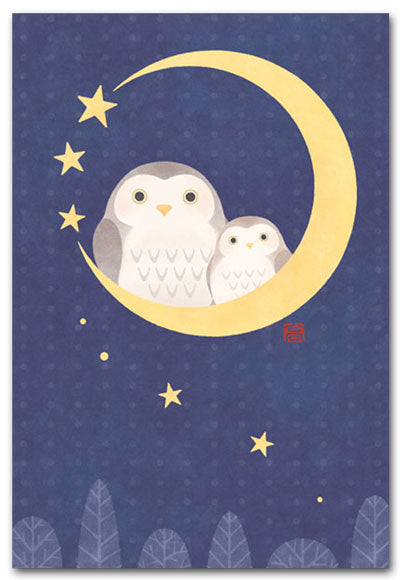 Owl on Crescent Moon Illustrated Postcard