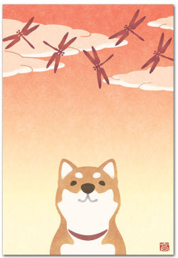 Shiba Dog Dragonfly Illustrated Postcard