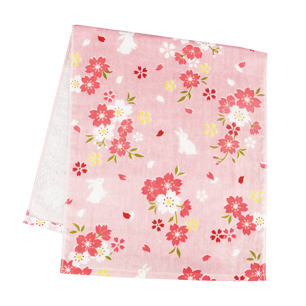 Gauze Face Towel - Sakura Rabbit