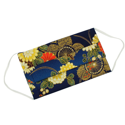 Cotton Face Mask Flower Navy