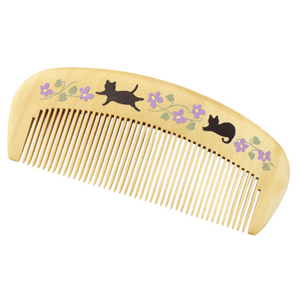Boxwood Tsuge Comb - Black Cat