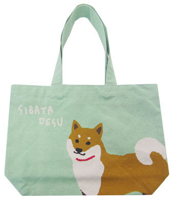 Shiba Inu Dog Green Tote Bag with zipper