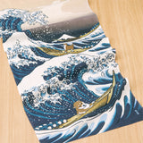Shiba Inu in Great Wave Tenugui Towel