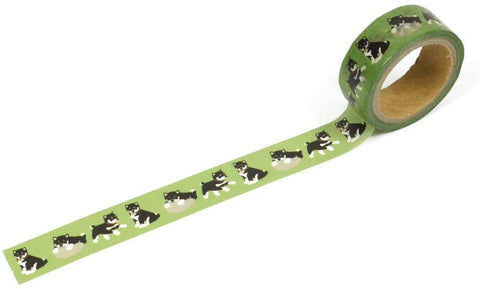 Black Shiba Dog Green Washi Tape - 15mm