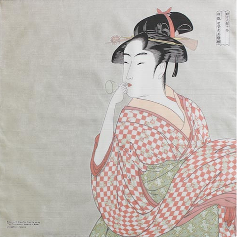 "19"" Furoshiki Ukiyoe Young Woman Blowing a Glass Pipe Kitagawa Utamaro Light Grey"