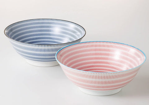 Ramen Bowl Set -Tokusa (Red/Blue)