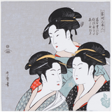 "19"" Furoshiki Ukiyoe Three Beauties of the Present Day Kitagawa Utamaro Light Grey"