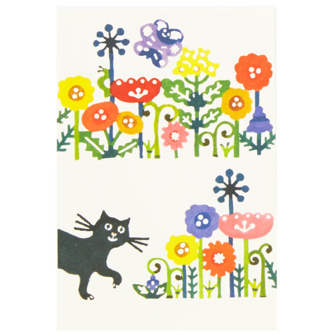 Flower and Black Cat Postcard