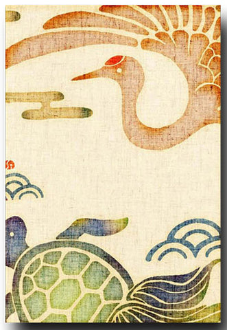 Crane & Turtle Illustrated Postcard