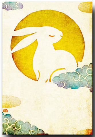Moon Rabbit Illustrated Postcard