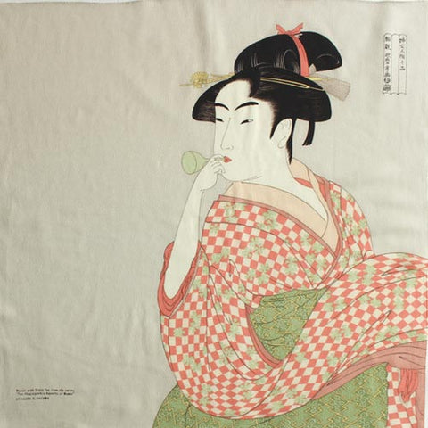 "27"" Furoshiki Chirimen Ukiyoe Young Woman Blowing a Glass Pipe Kitagawa Utamaro Light Grey"