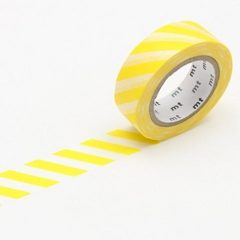 Stripe Salmon Lemon Yellow Washi Tape - 15mm