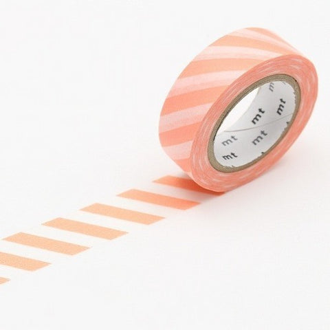 Stripe Salmon Pink Washi Tape - 15mm