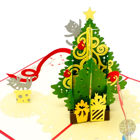 3D Pop-up Card - Christmas Tree & Kittens