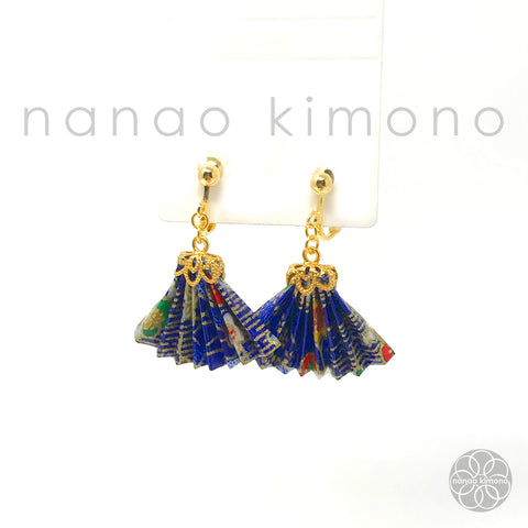 Clip-on Earrings - Origami Fan Blue