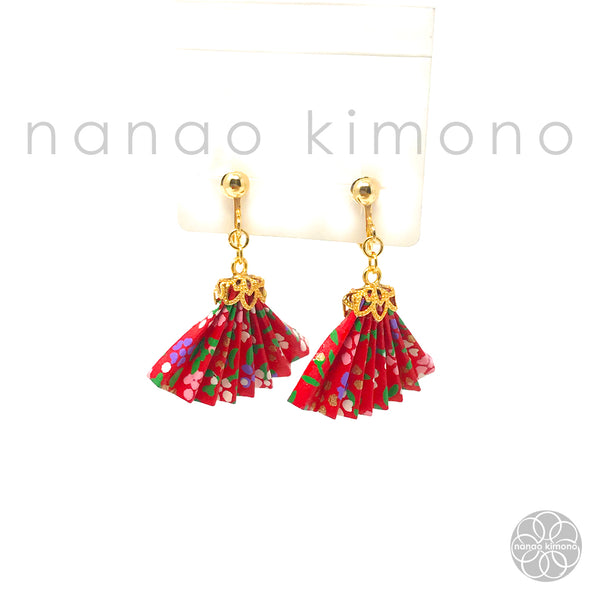 Clip-on Earrings - Origami Fan Red