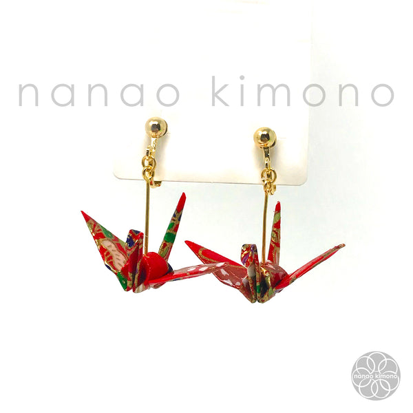 Clip-on Earrings - Origami Crane Red