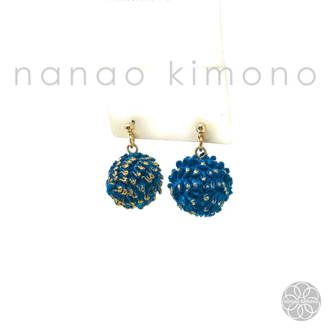 Pierced Earrings - Shibori Navy