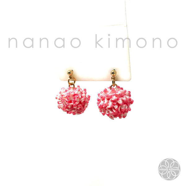 Pierced Earrings - Shibori Pink