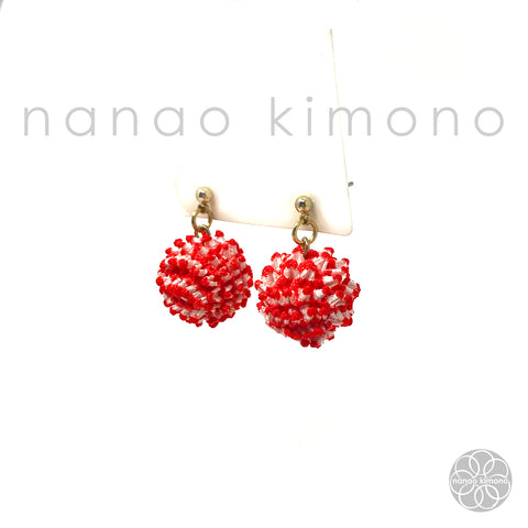 Pierced Earrings - Shibori Red