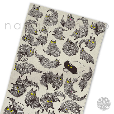Tea Towel - Black Fluffy Cat