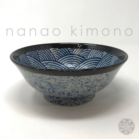 Ramen Bowl - Seigaiha Wave Navy