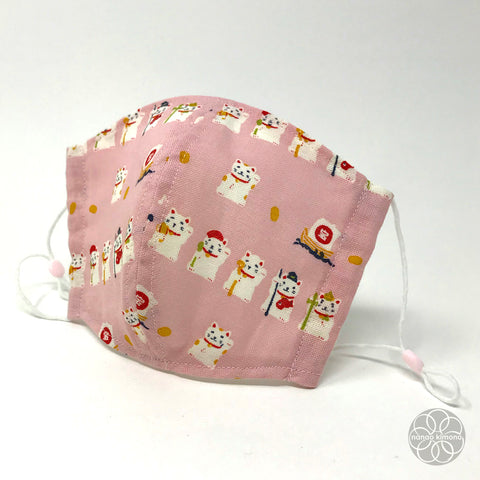 Tenugui Face Mask - Fortune Cat Pink