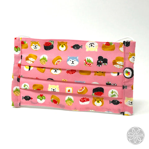 Cotton Face Mask - Dog Sushi Pink