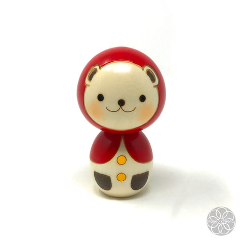 Kokeshi Doll - Red Riding Hood Bear