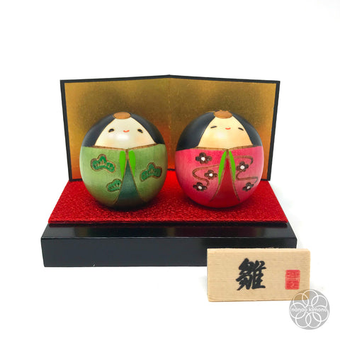 A pair of Kokeshi Dolls - Shiawase Hina