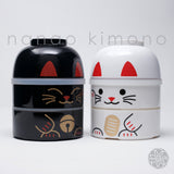 Kokeshi Bento Box - Maneki Neko Black