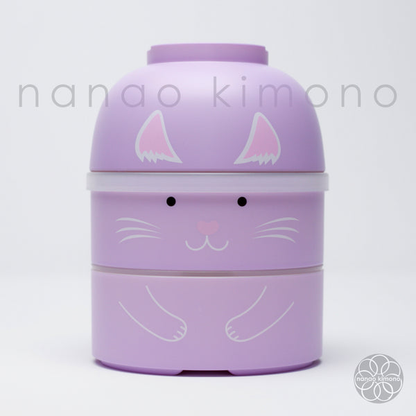 Kokeshi Bento Box - Cat Purple