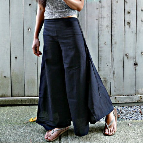 Wide Leg Pants - Plain Black