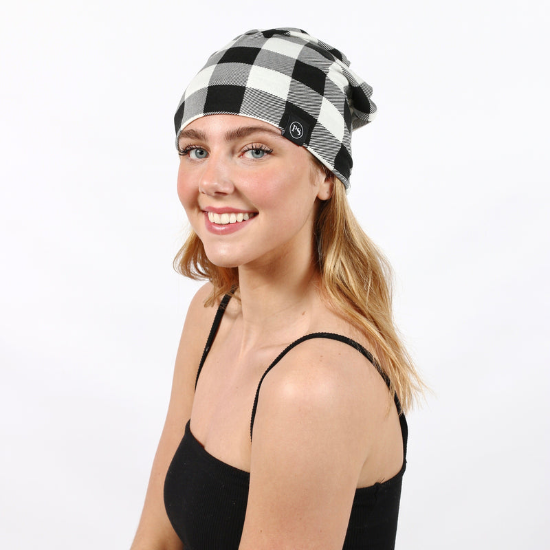 Peek-A-Boo Beanie- Black/White Buffalo Plaid