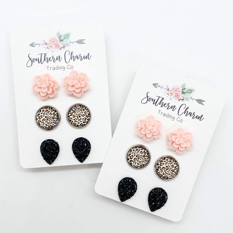 Pink Succulents, Leopard, & Black Teardrop Earrings