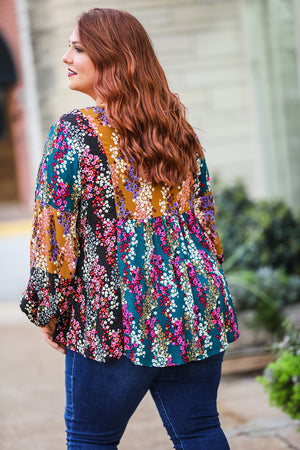Floral Puff Sleeve Top (Plus) - Rust