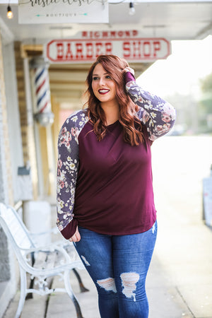 French Terry Floral Top (Plus) - Burgundy
