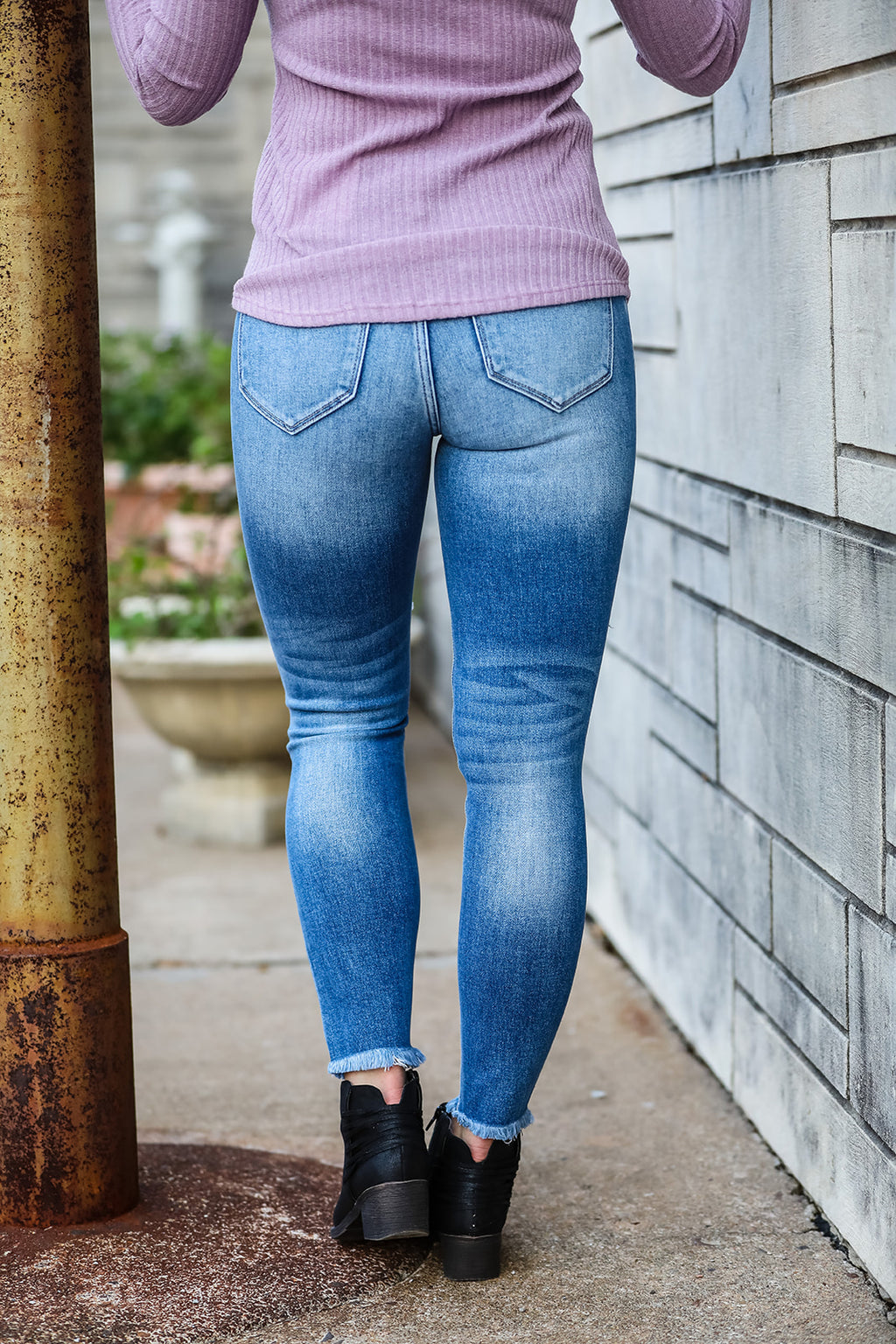 Distressed Light Wash Denim Jean