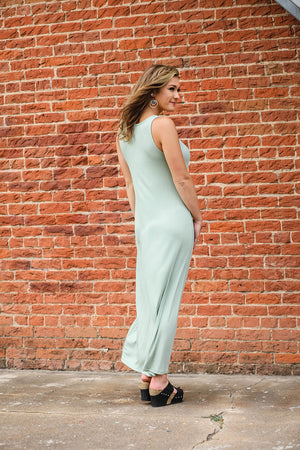 Solid Ribbed Maxi- Sage