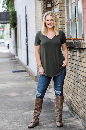Casual Relaxed Fit Top- Dk. Olive