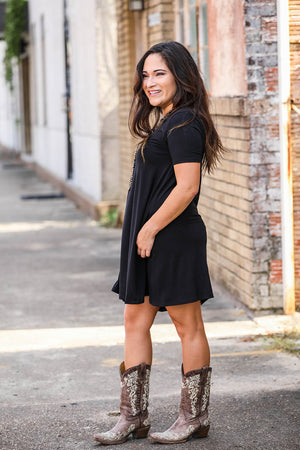 Scoop Neck Tunic- Black