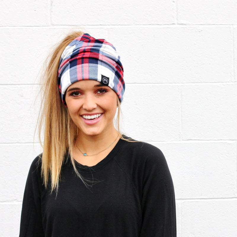 Peek-A-Boo Beanie- Red/Blue Plaid