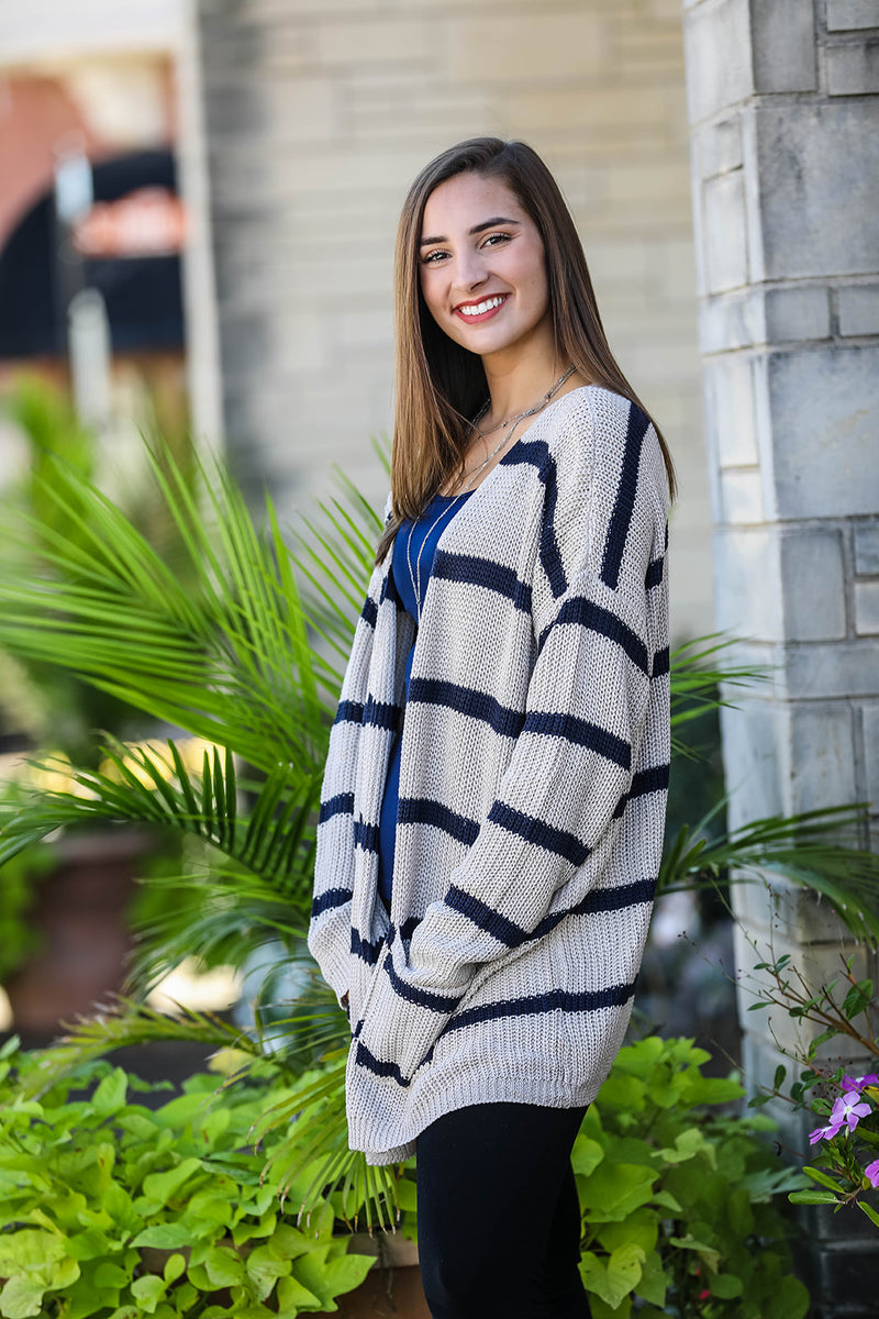 Striped Cardigan - Beige/Navy