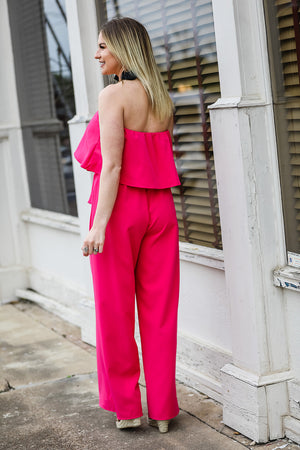 Cherish Your Love Jumpsuit - Hot Pink
