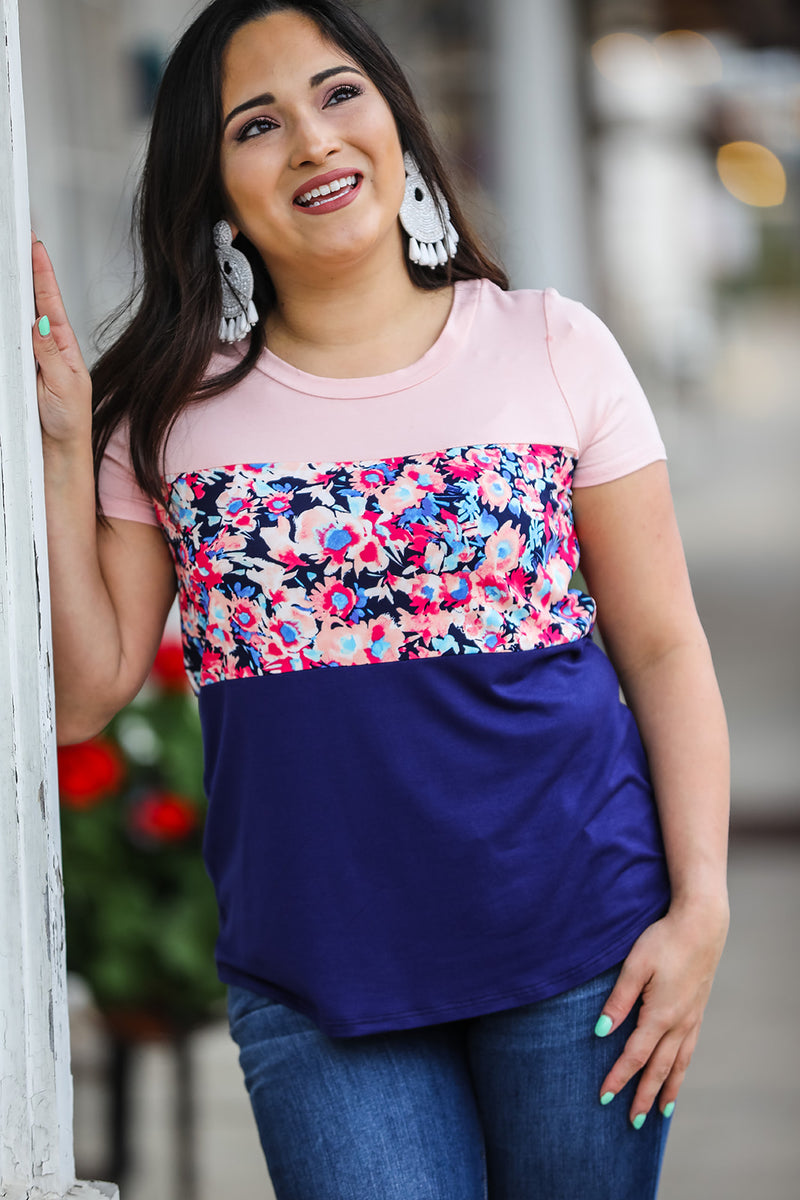 Floral Mix Color Block Top - Navy