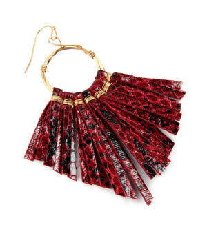 Tassel Snake Leather Earrings