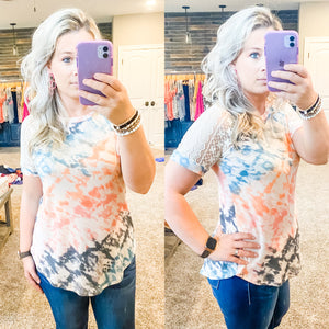 Tie Dye Lace Sleeve Top - Sage Combo